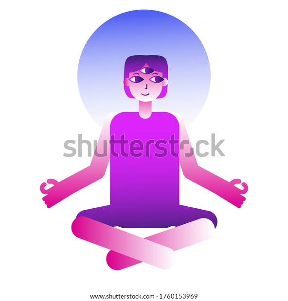 Threeeyed Enlightened Cartoon Personage Doing Yoga Stock Vector Royalty Free 1760153969