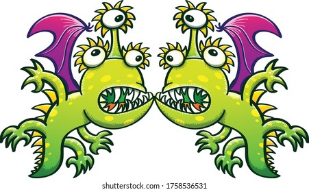Three-eyed monstrous dragons with green spotted skin, bat wings, sharp teeth and long tails feeling surprised and confused when having an unattended face to face meeting