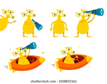 Three-eyed yellow alien UFO character set. With telescope search. On flying saucer in space. Flat color vector illustration