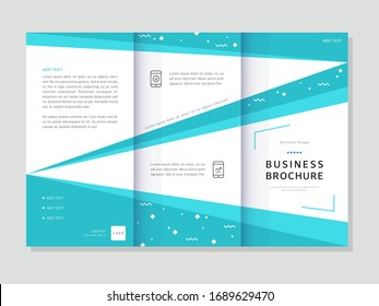 Three-fold business brochure with geometric background