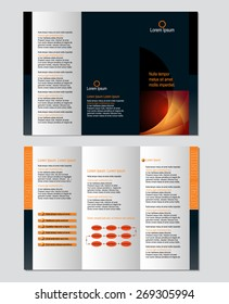 Three-fold leaflet design template - Vector