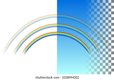 Threefold semicircular translucent rainbow on the white and blue transparent background. Realistic vector illustration.