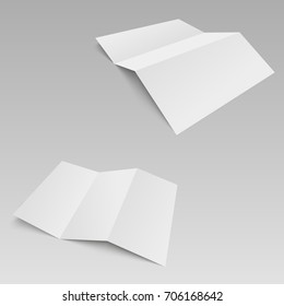 Threefold white template paper. Vector illustration.