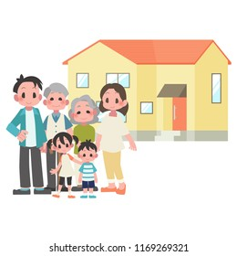 three-generational households & house illustration set