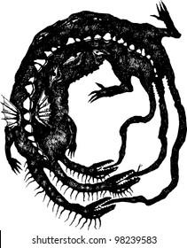 Three-headed dragon biting its own tail