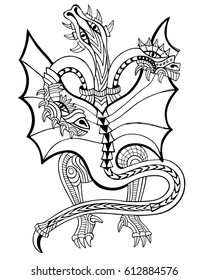 Three-headed dragon. Coloring book. Hand drawn vector illustration with geometric and floral elements.