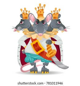 Three-headed mouse king from a fairy tale. A magical monster.