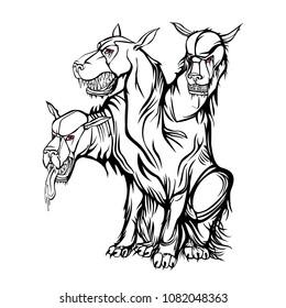 The three-headed mythological dog Cerberus