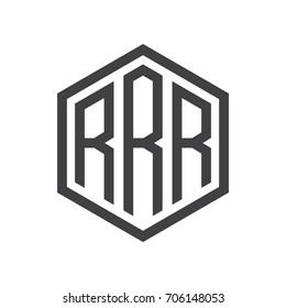 three-letter initials hexagon logo black