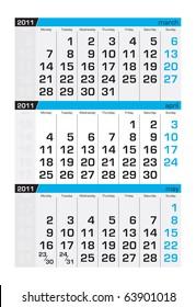 Three-month calendar,april 2011