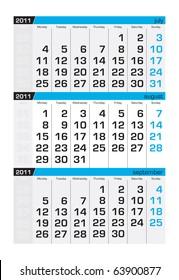 Three-month calendar,august 2011