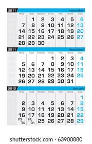 Three-month calendar,december 2011