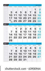 Three-month calendar,february 2011