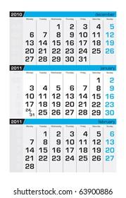 Three-month calendar,january 2011
