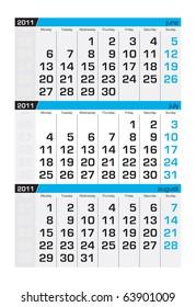 Three-month calendar,july2011