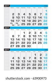 Three-month calendar,june 2011
