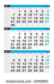 Three-month calendar,march 2011