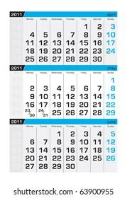 Three-month calendar,may 2011