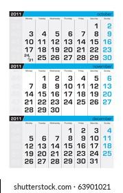 Three-month calendar,november 2011