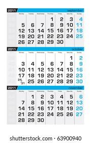 Three-month calendar,october 2011
