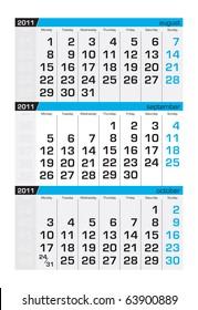 Three-month calendar,september 2011