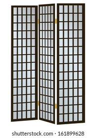 Three-pane wooden screen as a partition. Vector illustration.