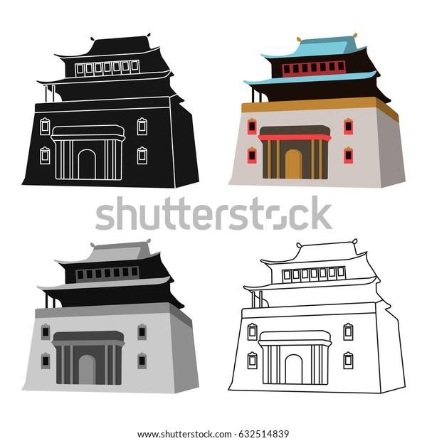 The three-storey building in Mongolia.Mongolian national Shrine of Mitarai.Mongolia single icon in cartoon style vector symbol stock illustration.