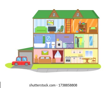 Three-storie house model cross section. Rooms with furniture, detailed interior. Colorful flat vector illustration, isolated on white background.