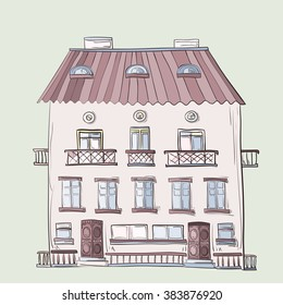 A three-story building with balconies painted and drawn by hand.