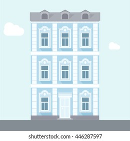 Three-story house. Blue flat apartment building. Old architecture. Vector illustration of house.