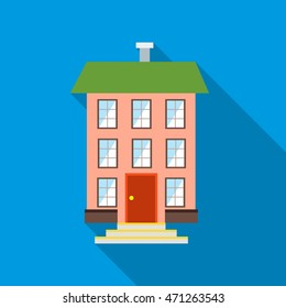 Three-story house icon in flat style with long shadow