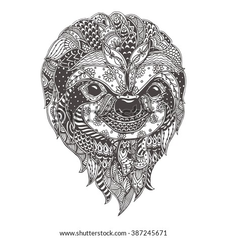 Threetoed Sloth Doodle Pattern Coloring Page Stock Vector Royalty