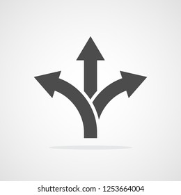 Three-way direction arrow in flat style. Vector illustration. Road direction icon isolated.