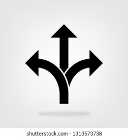 Three-way direction arrow icon vector, road direction sign for graphic design, logo, web site, social media, mobile app, ui illustration