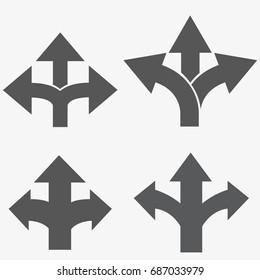 three-way direction arrow set, three-way direction arrow sign, road direction, road direction icon, vector illustration