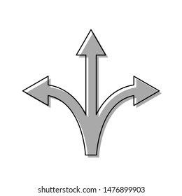 Three-way direction arrow sign. Black line icon with gray shifted flat filled icon on white background. Illustration.