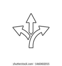three-way vector symbol icon. Event direction icon