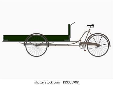 The three-wheeled utility bicycle in retro style on a white background.