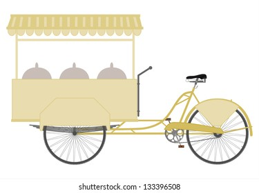 The three-wheeled utility bicycle to sell food on a white background.