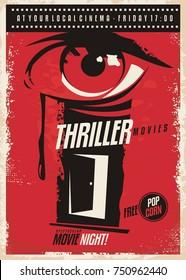 Thriller movies marathon retro poster design idea. Film and cinema movie poster with eye graphic and mystic room door. Vector illustration.