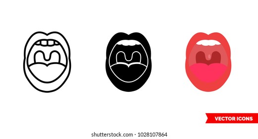 Throat oral icon of 3 types: color, black and white, outline. Isolated vector sign symbol.