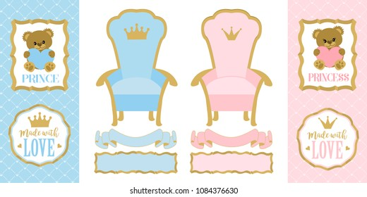 Throne chair for princess and prince. Set of cute vector elements of design for royal gender reveal party. Blue and pink with golden crown. Decorative gold tags, ribbons and frames for invitation card