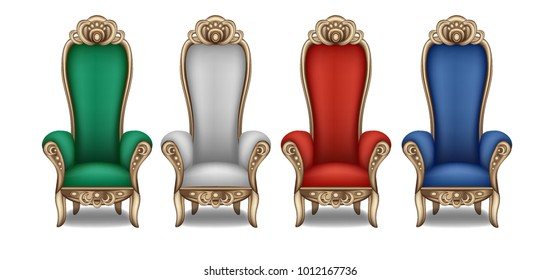 The throne of the king in the throne room, the red, blue, white, green icon the Royal throne. Vector illustration of crown icon for web design