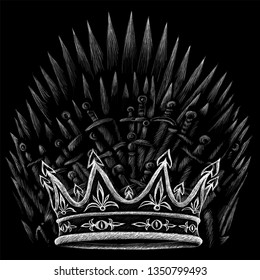 The throne of  kings and crown and cold weapons of the Middle Ages and swords or T-shirt design or outwear. Hunting swords of king background.