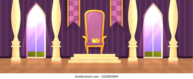 The throne room in the castle. Interior of ballroom with windows and flags and royal chair with a crown. Vector cartoon illustration