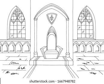 Throne room graphic castle interior black white medieval sketch illustration vector