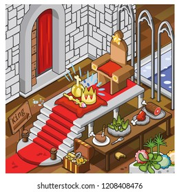 Throne room in a medieval castle with crown, scepter, imperial insignia, treasure chest and table packed with meat dishes and salad (vector illustration)