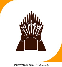 Throne sign. Brown icon on white background
