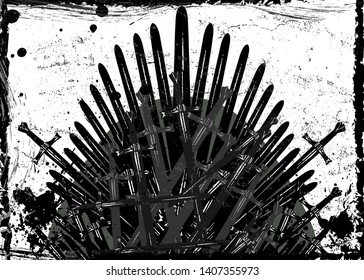 Thrones fantasy concept. Hand drawn iron throne of Westeros made of antique swords or metal blades. Ceremonial chair built of weapon dark brush texture background. Vector frame grungy design element