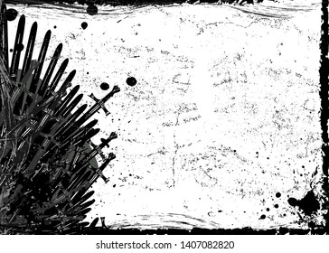 Thrones frame template. Hand drawn iron throne of Westeros made of antique swords or metal blades. Ceremonial chair built of weapon dark brush texture background. Vector grungy fantasy design element